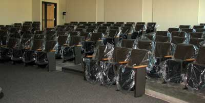 The presentation hall with seats installed