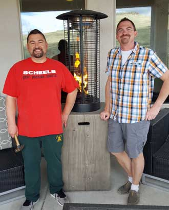 Joe and Ben after assembly of the patio heater