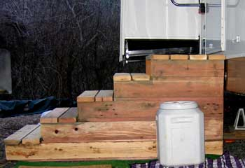 Entry stairway to our trailer built by Glenn Carter