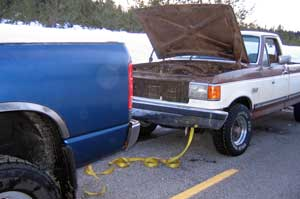 Big Blue tows a FORD