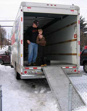 Johm and Courtney are loading the U-Haul