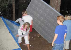 Mattress loaded into the tent.