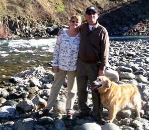 Gwen, Dale and Morgan pose next to the North Fork of the American River