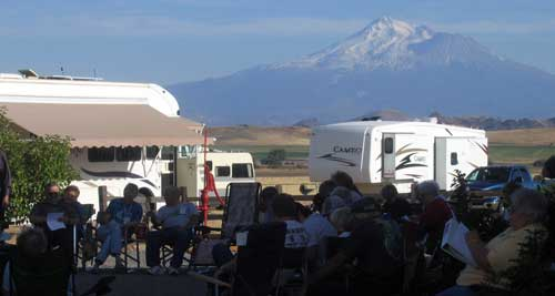 Mt. Shasta in the distance, our Cameo on the other side of the friendship hour group