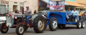 Tractors are part of the parade in the rural town