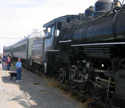 The Yreka and Western Railroad bring passengers into Montague to view the parade