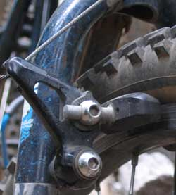 "Cantilever brake in the front of ""old blue"""