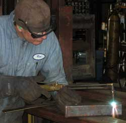 "Ron is preparing the 2"" receiver for welding to the pin box"