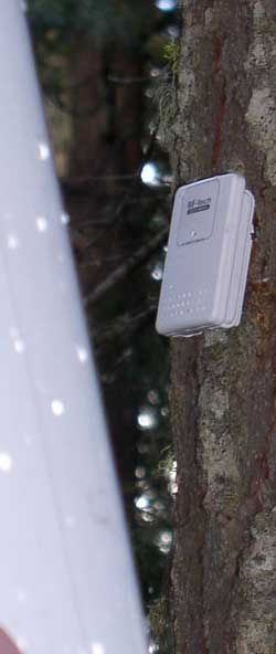 The wireless remote temperature sensor during a snow storm