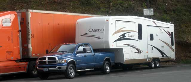 Both trailers parked at the Seven Feathers Casino in Canyonville, The KOTR on the way to Salem and the Cameo on the way from Salem.