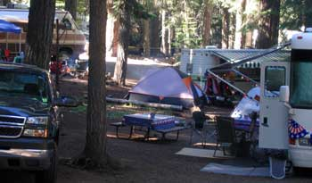 The campground is crowded for the July 4 week