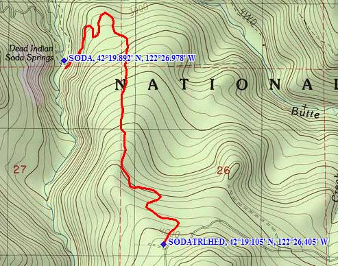 Topo map to Dead Indian Soda Springs