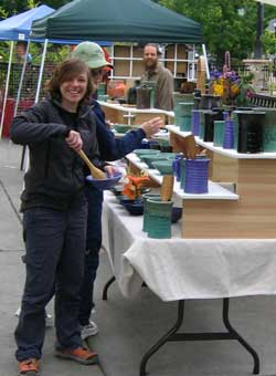 Mindy and Gwen exploring an outdoor market in Ashland