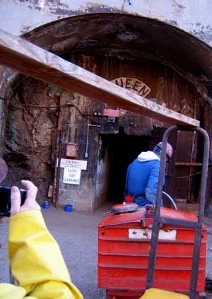The battery powered tow car pulls us into the Queen Mine entrance