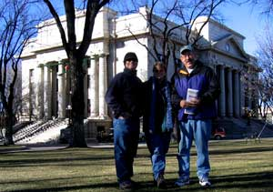 Dale, Gwen and Dick in front of Prescott, Arizona Court House