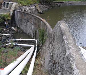 The Little Hyatt Lake dam is in very bad condition