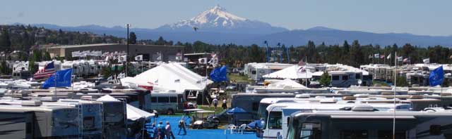 Mt. Hood over the many display RV's
