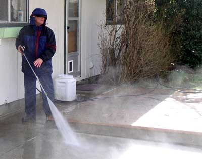 Pressure wash the patio