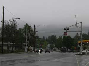 Mt. Shasta City on a stormy day