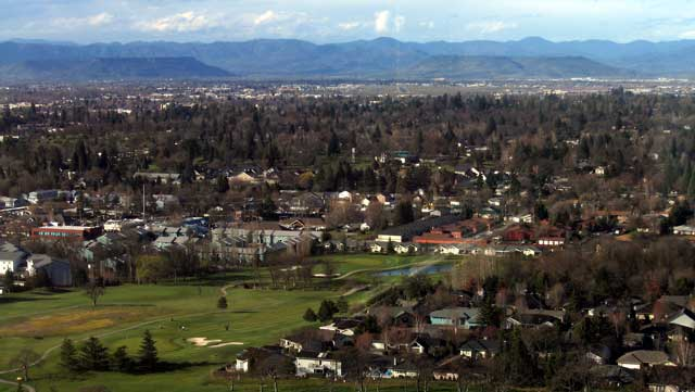 Medford with Tablerock Mountains in the distance.