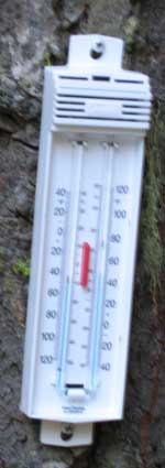 My minimum/maximum thermometer screwed to a tree outside my RV.
