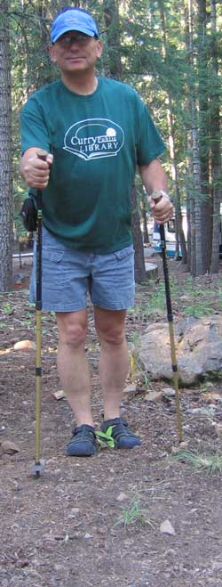 Trekking Poles, they look like ski poles for dry land