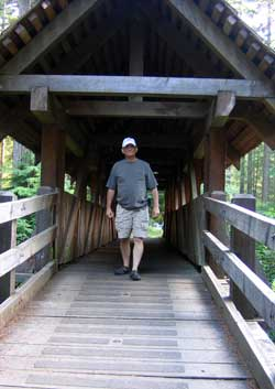 Covered bridge walkway to main campground
